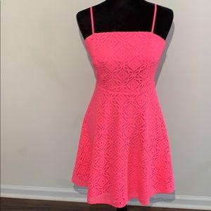 Lilly Pulitzer hot neon pink lace dress